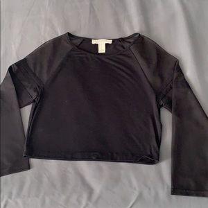 Black crop top with mesh long sleeves